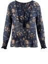 Блузка принтованная с кисточками и резинками oodji #SECTION_NAME# (синий), 21411107/17358/7933F
