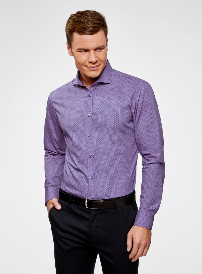 Рубашка хлопковая в мелкую графику oodji для мужчины (фиолетовый), 3L110288M/19370N/8083G