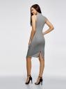 Платье в рубчик с воротником-стойкой oodji #SECTION_NAME# (серый), 14005138-2/46412/2300M - вид 3