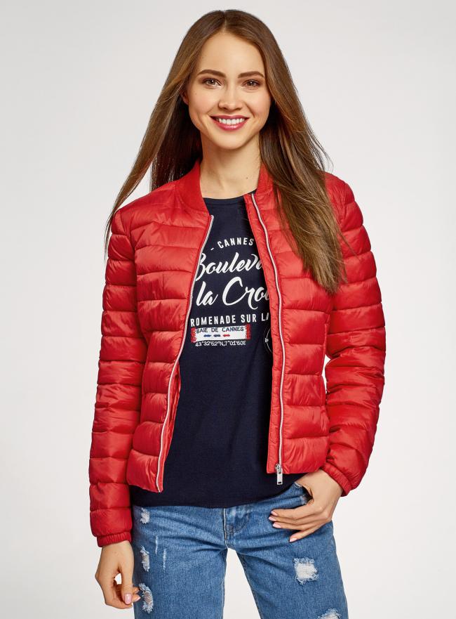 Куртка-бомбер на молнии oodji для женщины (красный), 10203061-1B/33445/4500N