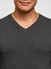 Пуловер базовый с V-образным вырезом oodji #SECTION_NAME# (серый), 4B212007M-1/34390N/2500M - вид 4