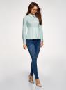 Блузка хлопковая с баской oodji #SECTION_NAME# (зеленый), 13K00001-1B/42083/6500N - вид 6