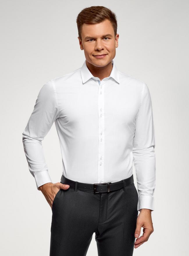 Рубашка приталенная oodji для мужчины (белый), 3B110020M-2/47184N/1000N