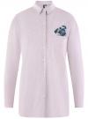 Рубашка oversize с вышивкой oodji #SECTION_NAME# (розовый), 13K11004-1/45387/4A10S