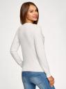 Джемпер вязаный с вышивкой на груди oodji для женщины (белый), 63812616-2/49293/1219P