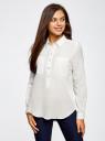Рубашка хлопковая свободного силуэта oodji для женщины (белый), 11411101B/45561/1200N
