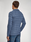 Пуловер вязаный в полоску с шалевым воротником oodji #SECTION_NAME# (синий), 4L207016M/44407N/7400M - вид 3