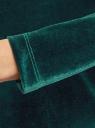 Платье бархатное с V-образным вырезом сзади oodji #SECTION_NAME# (зеленый), 14000165-4/48621/6E00N - вид 5