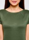 Платье приталенное с металлическим декором на плечах oodji #SECTION_NAME# (зеленый), 14001177/18610/6901N - вид 4