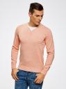Пуловер с хлопковой вставкой на груди oodji #SECTION_NAME# (розовый), 4B212006M/39245N/5410B - вид 2