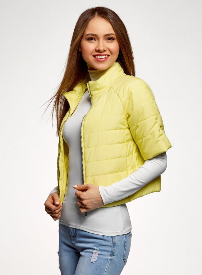 Куртка стеганая с короткими рукавами oodji для женщины (желтый), 10207003/45420/5001N
