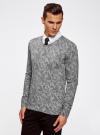 Пуловер вязаный с принтом oodji #SECTION_NAME# (серый), 4L212151M/44326N/2329F - вид 2