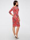 Платье трикотажное с вырезом-капелькой на спине oodji #SECTION_NAME# (красный), 24001070-5/15640/4530F - вид 3