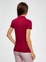 Поло из ткани пике с вышивкой oodji для женщины (красный), 19301001-8/46161/4900P