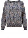 Блузка принтованная с вырезом-лодочкой oodji #SECTION_NAME# (синий), 21400405/26546/7533E - вид 6