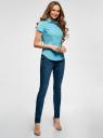 Рубашка базовая с коротким рукавом oodji для женщины (бирюзовый), 11401238-1/45151/7300N