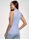 Топ хлопковый из ткани пике oodji для женщины (синий), 19305001/46149/7000N