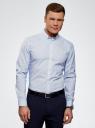 Рубашка принтованная из хлопка oodji #SECTION_NAME# (синий), 3B110027M/19370N/1075G - вид 2