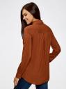 Блузка базовая из вискозы с карманами oodji #SECTION_NAME# (коричневый), 11400355-4/26346/3900N - вид 3
