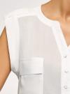 Блузка вискозная с нагрудными карманами oodji #SECTION_NAME# (белый), 21412132-6B/48756/1200N - вид 5
