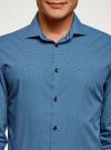 Рубашка хлопковая в мелкую графику oodji #SECTION_NAME# (синий), 3L110373M/19370N/7975G - вид 4