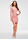 Платье прилегающего силуэта в рубчик oodji #SECTION_NAME# (розовый), 14011012/45210/4310S - вид 2