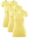 Футболка базовая приталенная (комплект из 3 штук) oodji для женщины (желтый), 14701005T3/46147/6700N