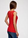 Топ из эластичной ткани на широких бретелях oodji для женщины (красный), 24315002-1B/45297/4500N
