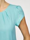 Блузка вискозная на молнии oodji #SECTION_NAME# (бирюзовый), 11403203-1/35610/7300N - вид 5