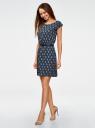 Платье вискозное с поясом oodji для женщины (синий), 11910073-1/26346/7535E