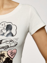 Футболка хлопковая с принтом oodji для женщины (слоновая кость), 14701008-39/46154/3041P