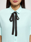 Блузка вискозная с завязками на воротнике oodji #SECTION_NAME# (зеленый), 11405143/48458/6529B - вид 4