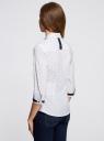 Рубашка хлопковая с рукавом 3/4 oodji #SECTION_NAME# (белый), 11403201-2/26357/1079D - вид 3