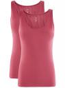 Комплект из двух базовых маек oodji для женщины (розовый), 24315001T2/46147/4A00N