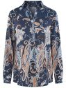 Блузка из вискозы с принтом oodji #SECTION_NAME# (синий), 21411144-4/26346/7933E