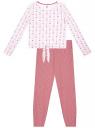 Пижама хлопковая с брюками oodji для женщины (розовый), 56002222-3/46158/104DQ
