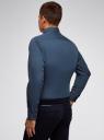 Рубашка приталенная в мелкую графику oodji #SECTION_NAME# (синий), 3L110345M/19370N/7479G - вид 3