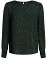 Блузка свободного силуэта с вырезом-капелькой на спине oodji #SECTION_NAME# (зеленый), 11411129/45192/6D29A