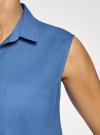 Топ хлопковый с рубашечным воротником oodji #SECTION_NAME# (синий), 14901416-1B/12836/7501N - вид 5
