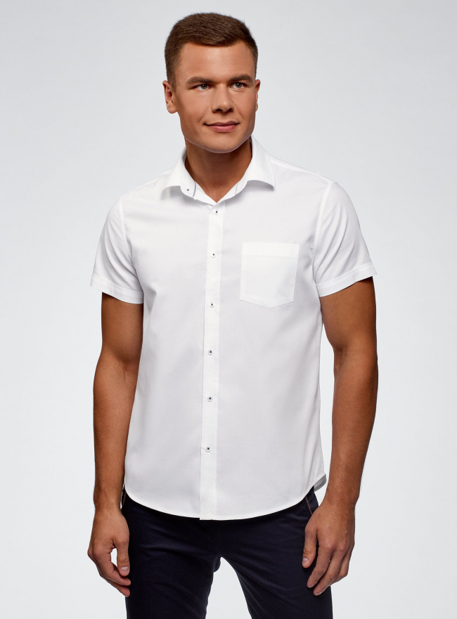 Рубашка базовая с коротким рукавом oodji #SECTION_NAME# (белый), 3B210007M/34246N/1000N