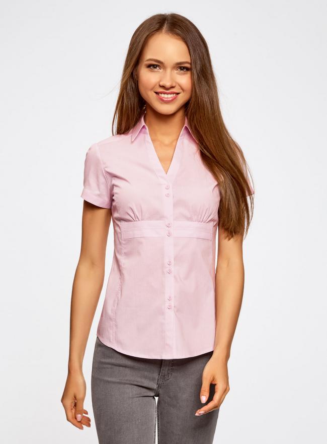 Рубашка с V-образным вырезом и отложным воротником oodji #SECTION_NAME# (розовый), 11402087/35527/4000N