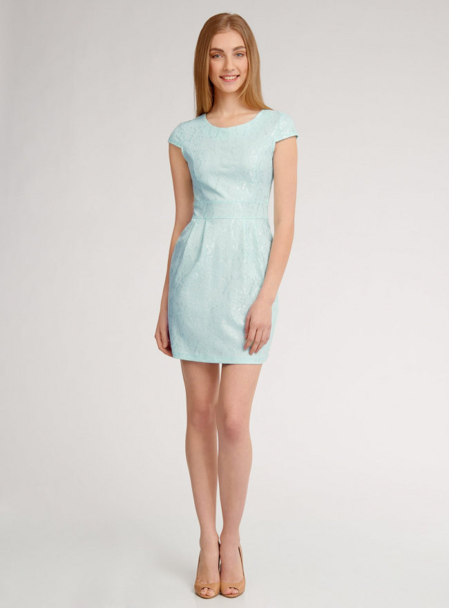 Платье трикотажное кружевное oodji для женщины (зеленый), 14001154-2/42644/6500N
