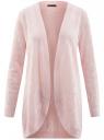 Кардиган ажурной вязки без застежки oodji #SECTION_NAME# (розовый), 63210145/46806/4000N