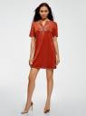 Платье из искусственной замши с декором из металлических страз oodji #SECTION_NAME# (красный), 18L01001/45622/3100N - вид 2