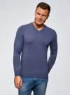 Пуловер базовый с V-образным вырезом oodji для мужчины (синий), 4B212007M-1/34390N/7500M - вид 2