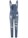 Комбинезон джинсовый с отделкой в стиле пэчворк oodji для женщины (синий), 13108002-1/45254/7500W