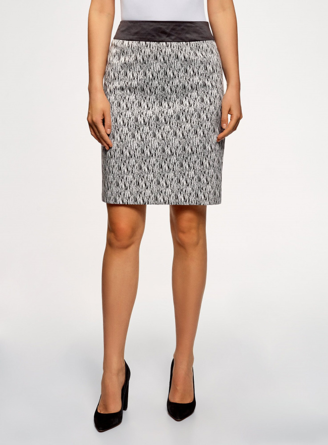 Юбка принтованная с декоративной отделкой на поясе oodji для женщины (черный), 21601203-4/42056/2912O