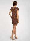 Платье прямое базовое oodji #SECTION_NAME# (коричневый), 22C01001-1B/45559/2955E - вид 3