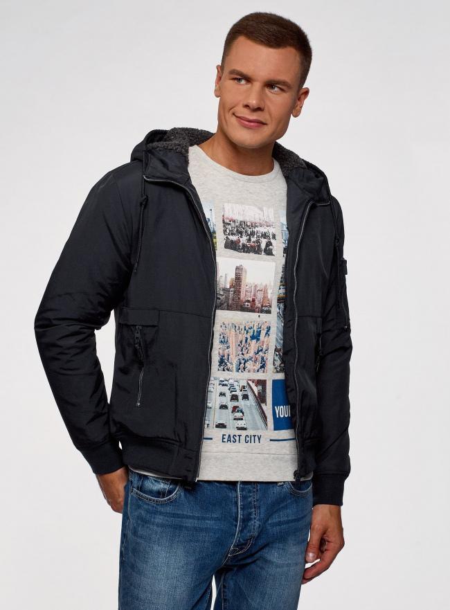 Куртка на молнии с утепленным капюшоном oodji #SECTION_NAME# (синий), 1L512017M/25276N/7900N