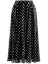 Юбка со складками из струящейся ткани oodji #SECTION_NAME# (черный), 21600285-2B/17358/2912D